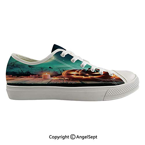 Durable Anti-Slip Sole Washable Canvas Shoes 16.53inch Fantastic Magic Night Spooky Atmosphere Candles Pumpkin on Wooden Planks Print,Multicolor Flexible and Soft Nice Gift ()