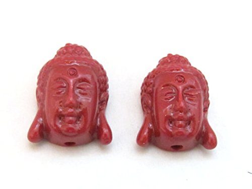 4 BEADS - Red resin light weight small size Buddha face pendant beads - BD700s ()