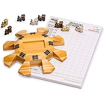 Yellow Mountain Imports Dominoes Accessory Set (Mexican Train Dominoes) - Includes Wooden Hub Centerpiece and Metal Train Markers