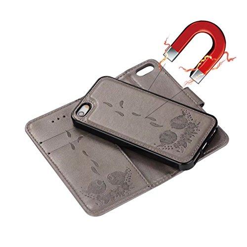 JIALUN-carcasa de telefono Funda de cuero de la PU con la contraportada desmontable, caja del tirón de la bolsa de Wllet del tirón con las ranuras del acollador y de la tarjeta para el iPhone 5s y SE  Gray