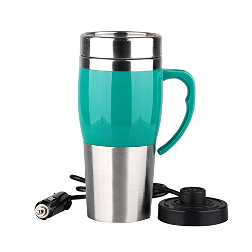 Firlar Stainless Steel Ten Minutes Quick Heating Cup 400ml Car Thermos with Charger Electric Car Boiling Bottle Water Heater Mug (Green)