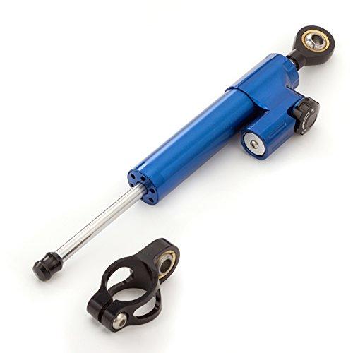 Motorcycle Adjustable Universal Steering Damper Stabilizer Control Fit For SUZUKI GSXR 1000 750 K4 KAWASAKI ZX636 ZX6R HONDA CB1000R KTM DUKE125 YAMAHA YZF R6 MT-09 XJR1300 (blue+black) (Best Steering Damper For R6)