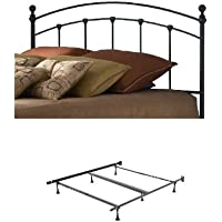 Sanford Metal Headboard with frame, Matte Black Finish, Queen