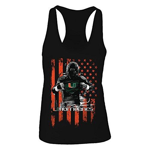 (FanPrint Miami Hurricanes Tank Top - Player Flag - Women's Tank Top/Black/M)