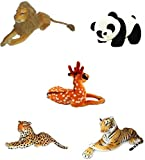 Speoma Combo of Soft Toys Panda,Tiger,Lion,Deer,cheetah(Pack of 5) -32cm
