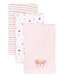 SpaSilk Baby-Girls Newborn 3 Pack 100% Cotton Burp Cloths, Pink,One Size