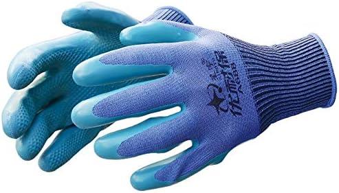 労働保護作業用手袋 労働保険手袋滑り止め通気性ラテックスエンボス労働手袋、10ペア (Color : Blue, Size : M)