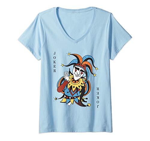 Womens Joker Playing Card Halloween Costume Wild Card V-Neck T-Shirt]()