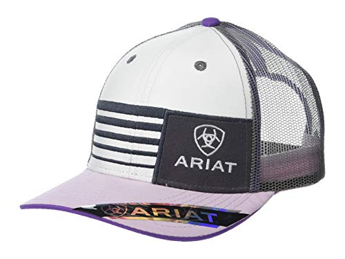 Ariat Stripe Offset Ariat Logo Patch Snapback Cap White/Lavendar One Size