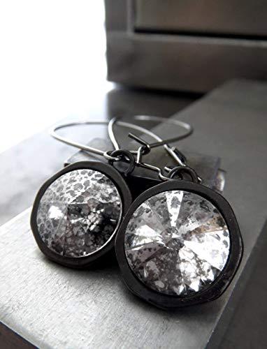 Rivoli Crystal Earrings with Silver Patina Swarovski Crystal - Gothic Black Moon Bezel Settings