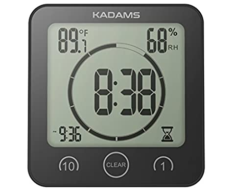 KADAMS Digital Clock Timer with Alarm, Waterproof for Water Spray for Bathroom Shower Kitchen, Touch Screen Timer, Temperature and Humidity Display, Double Layer Suction Cup, Hanging Hole, Table (Kitchen Digital Clock)