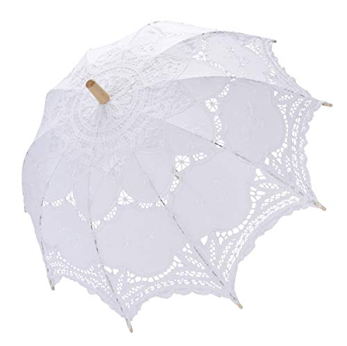 Tinksky Lace Umbrella Parasol Romantic Wedding Umbrella Photograph (White) -