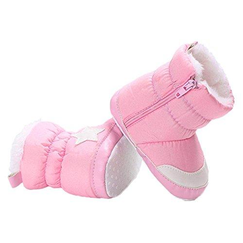 Domybest Unisex-Baby-Säuglings-Winter-erste Wanderer-Schnee-Aufladungs-Vlies-weiche warme Schuhe Rosa