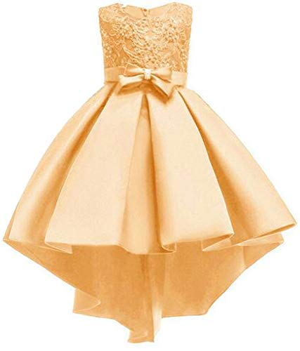 Big Girls Pleated Beaded High-Low Applique Embroidered Flower Girl Pageant Dance Party Dress,Golden,7-8