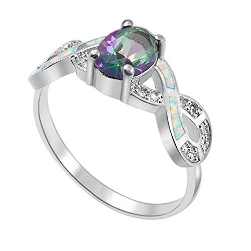 Shiny Rainbow Mystic Topaz Blue Opal Party Women' Ring By...