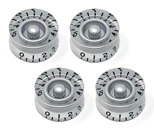 Silver Speed Knobs for Epiphone Les Paul SG Electric Guitar (Set of 4) | Fits 18 Coarse-Spline USA (Metric) Split Shaft Pots by VINTAGE FORGE | SK18M-SIL4