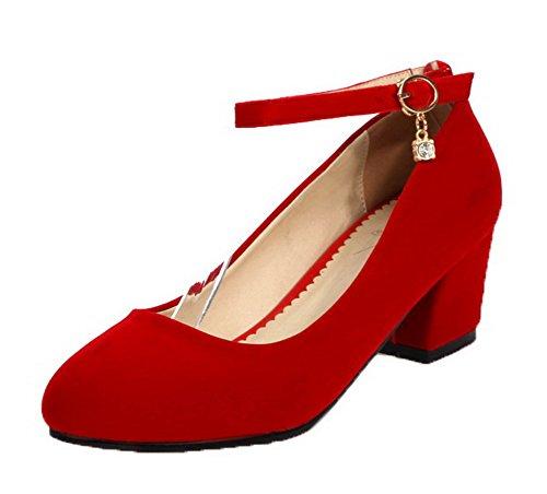 Puro FBUIDD005122 Tacco AllhqFashion Fibbia Tonda Luccichio Rosso Punta Donna Ballet Flats Medio qgTxXg
