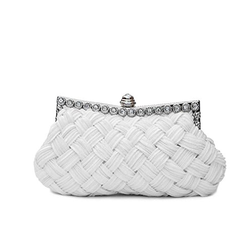 Clutch Day Bag amp;OS Knitted Bride Bag Evening Chains Women's With ZJ Party Tote Clutch White Diamond zICTS