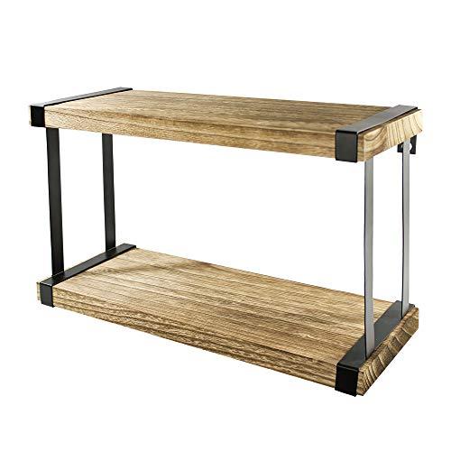 YesterDecor Double Wood Floating Shelf Set with Hardware - Rustic Bookshelves and - Add Unit Bathroom Mirrors Shelf To
