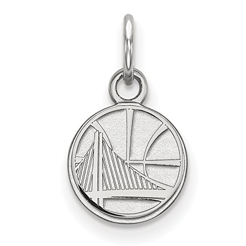 NBA Golden State Warriors X-Small Logo Pendant in 10K White Gold by LogoArt