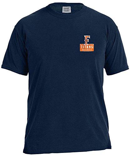 NCAA Cal State Fullerton Titans Vintage Baseball Flag Short Sleeve Comfort Color T-Shirt, X-Large, True Navy