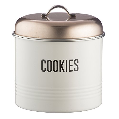 Typhoon Vintage Copper Coated Steel Cookie Storage Tin with Airtight Lid; Designed To Store Plenty of Cookies; 7-Inches by 7-Inches; Copper and White (Cookie With Jar Lid Ceramic)