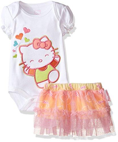 Hello Kitty Skirt (Hello Kitty Baby Bodysuit, Tutu Skirt and Bib with Gradient RainPrint, Shocking Pink, 3-6 Months)