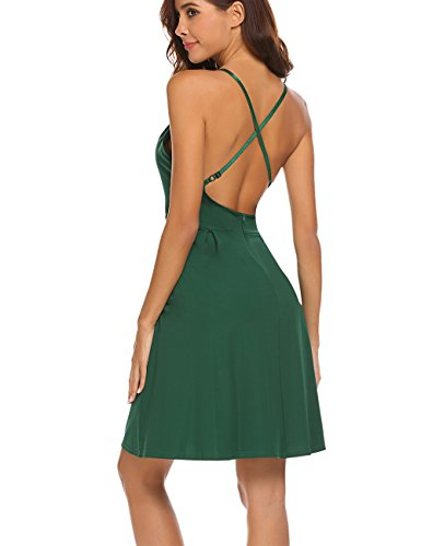 Dresses with Backless Summer Green Dress Women's Pocket Sleeveless Strap Halife Party Spaghetti Sexy V Neck Rqn7zP