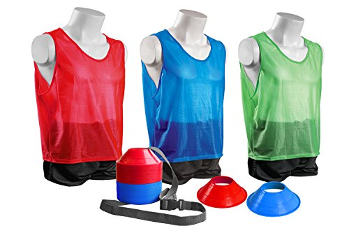 Kwik Goal Mini Cone and Vest Pack (24 Vests/50 Cones), Youth, Red/Blue/Green