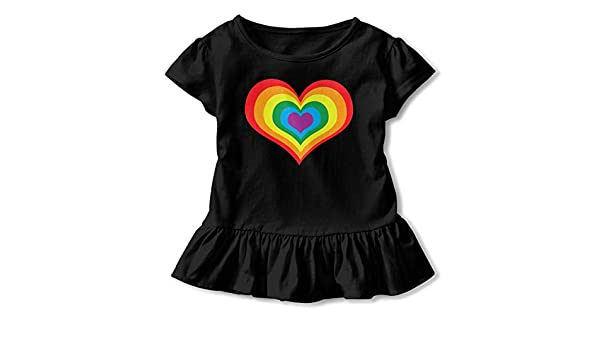2-6T Girls Short Sleeve Rainbow Heart LGBT Shirts Casual Blouse Clothes with Flounces