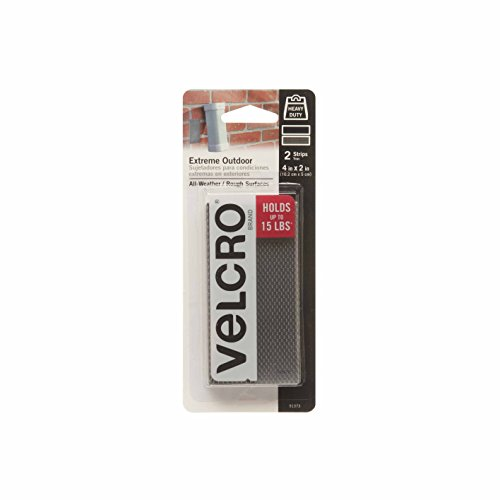VELCRO Brand - Industrial Strength Extreme Outdoor | Heavy Duty, Superior Holding Power on Rough Surfaces | 2 Strips | 4in x 2in | Titanium