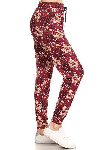 Leggings Depot JGA-S595-M Autumn Breeze Print Jogger Track Pants w/Pockets, Medium