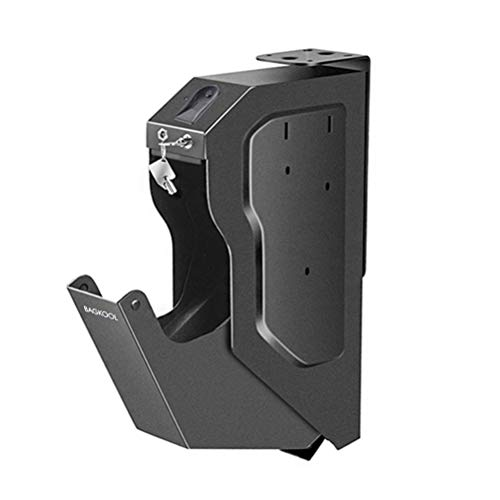 Gun Safe,Smart Handgun Safe Box Mounted Firearm Safety Device Pistol Gun Safe Box with Biometric Fingerprint Lock & 2 Emergency Key