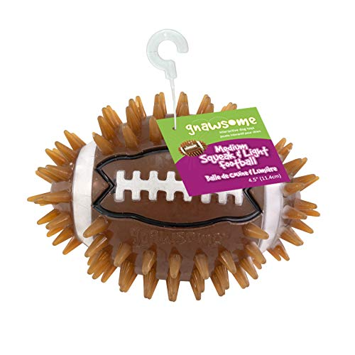 """Gnawsome 4.5"""" Spiky Squeak & Light Football for Dogs - Durable, Rubber Bouncy Puppy Fetch & Chew Toy for Your Pet, Colors Will Vary"""