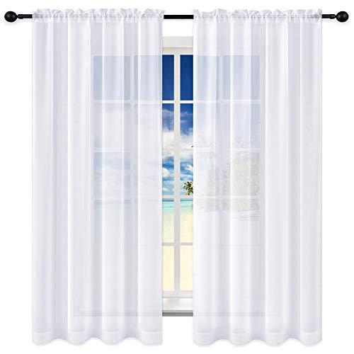 KEQIAOSUOCAI White Sheer Curtains 63 inches Long Rod Pocket Sheer Panels Drapes 52