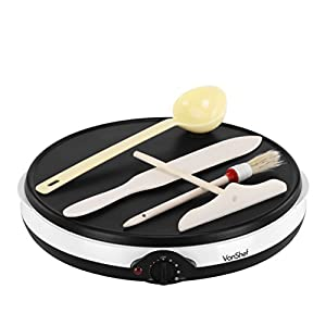VonShef Professional Electric 12 Inch Crepe Pan and Pancake Maker Griddle with Batter Spreader, Oil Brush, Wooden Spatula & Ladle - Non Stick