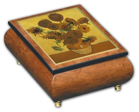 Ercolano Art - Beautiful Sunflowers Theme Inlaid Ercolano Art Musical Jewelry Box, Music Selection - Silver Bells