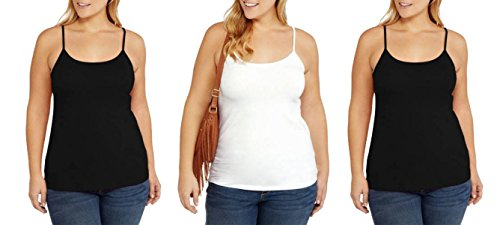 Faded Glory Women's Basic Essential Knit Layering Cami (Black White Black, 3X) from Faded Glory