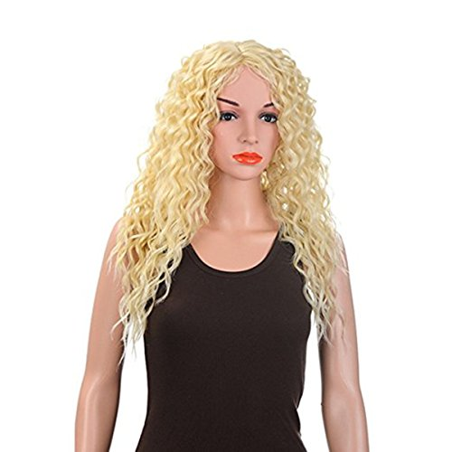 Merrylight Charming Curly Hair Extensions Synthetic Ponytail Drawstring Full Wigs (Light Gold-613) ()