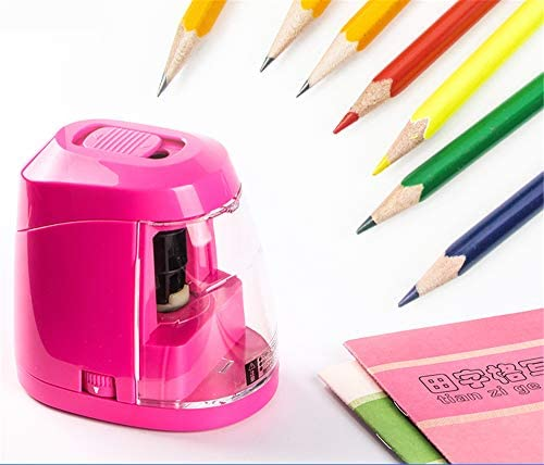 電動鉛筆削り、調整可能なペン先の長さ、バッテリー駆動、安全のための自動停止、直径6-8mmに適し、大きな容器付き、子供アーティスト、子供のための完璧なギフト