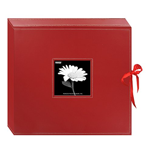 Pioneer 12 Inch by 12 Inch 3-Ring Leatherette Inset Frame and Ribbon Closure Memory Book, Red -