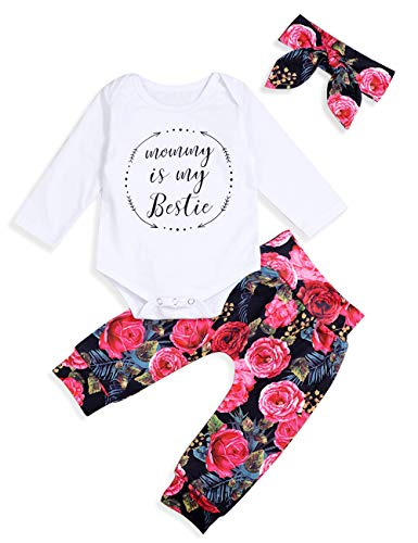 Infant Baby Girl Clothes Mommy is My Bestie Black Sleeveless Tops Floral Pants and Headband Summer Outfit Set (3-6 Months ()