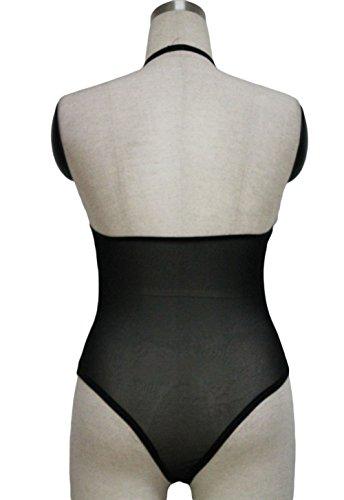 Nuovo, da donna, colore: Nero lucido, inserti in maglia Teddy con effetto bagnato, applique Body lingerie, monokini Dance taglia M UK 10–12EU 38–40