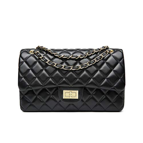 Classics Women's Lambskin Flap Shoulder Bags Diamond Square Striped Bag Chain Leather Handbags ()