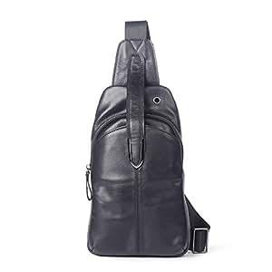 Lcxliga Leather Sling Bag with USB Charging Port Large Mens Crossbody Shoulder Bag Travel Sling Chest Bag