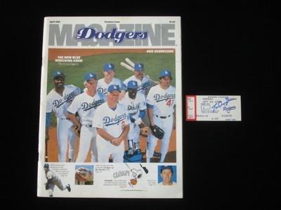 Tom Lasorda Autographed 1988 Opening Day Ticketstub and Program - Autographed MLB Magazines