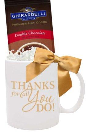 Thanks You Cocoa Gift Mug/Holiday Cocoa Mug/Teacher Thanks/Corporate Thank You Gifts/Holiday Gift Mug/Business Mugs/Ghirardelli Cocoa Mugs