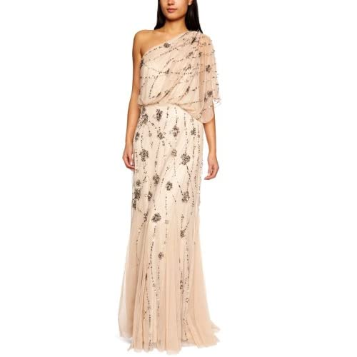 Adrianna Papell Women's One Shoulder Beaded Blouson Dress