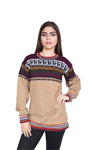 Raymis Peruvian Women´s Hand Knit Alpaca Rainbow Crew Neck Sweater (Beige, Large)