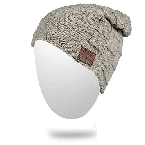 Momoday Wireless Beanie Knitted Winter Warm Music Unisex Hat Cap with Headphone Microphone for Hands Free Talking Winter Sports Fitness Gym Jogging Camping (LightGray2)